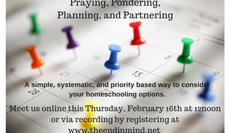 Praying, Pondering, Planning, and Partnering